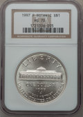 Modern Issues: , 1997-P $1 Botanic Gardens Silver Dollar MS70 NGC. NGC Census:(186). PCGS Population (118). Mintage: 58,505. Numismedia Wsl...