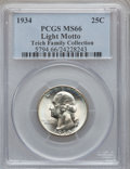 Washington Quarters, 1934 25C Light Motto MS66 PCGS. Ex: Teich Family Collection. PCGSPopulation (113/6). NGC Census: (21/1). Mintage: 31,912,0...