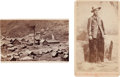Photography:CDVs, Carte de Visite: Man in Wooly Chaps and a Scene of the Gould and Curry Works, NV.... (Total: 2 Items)