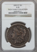 Morgan Dollars, 1890-CC $1 Fine 15 NGC. Ex: Teich Family Collection. NGC Census:(66/5709). PCGS Population (108/10225). Mintage: 2,309,041...