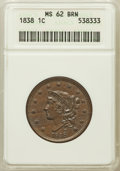 Large Cents: , 1838 1C MS62 Brown ANACS. NGC Census: (90/294). PCGS Population(34/218). Mintage: 6,370,200. Numismedia Wsl. Price for pro...