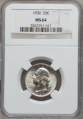 Washington Quarters, 1932 25C MS64 NGC. NGC Census: (569/438). PCGS Population(1043/703). Mintage: 5,404,000. Numismedia Wsl. Price forproblem...