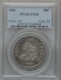 Bust Half Dollars: , 1831 50C VF30 PCGS. PCGS Population (57/1663). NGC Census:(55/1485). Mintage: 5,873,660. Numismedia Wsl. Price for problem...