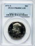 Proof Kennedy Half Dollars: , 1971-S 50C PR68 Deep Cameo PCGS. PCGS Population (265/65). NGCCensus: (84/36). Numismedia Wsl. Price for problem free NGC...