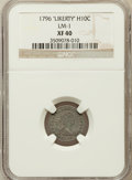 """Early Half Dimes: , 1796 H10C """"LIKERTY"""" XF40 NGC. LM-1. NGC Census: (8/50). PCGSPopulation (4/32). Mintage: 10,230. Numismedia Wsl. Price for ..."""
