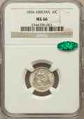 Seated Dimes: , 1854 10C Arrows MS66 NGC. NGC Census: (13/8). PCGS Population(12/0). Mintage: 4,470,000. Numismedia Wsl. Price for problem...