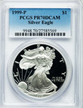 Modern Bullion Coins: , 1999-P $1 Silver Eagle PR70 Deep Cameo PCGS. PCGS Population (766).NGC Census: (616). Numismedia Wsl. Price for problem f...