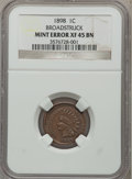 Errors: , 1898 1C Indian Cents --Broadstruck-- XF45 Brown NGC. NGC Census:(3/200). PCGS Population (11/179). Mintage: 49,823,080. Nu...