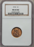 Lincoln Cents: , 1910 1C MS65 Red NGC. NGC Census: (151/96). PCGS Population(394/160). Mintage: 146,801,216. Numismedia Wsl. Price for prob...