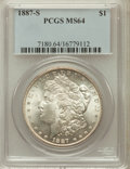 Morgan Dollars: , 1887-S $1 MS64 PCGS. PCGS Population (1761/352). NGC Census:(951/173). Mintage: 1,771,000. Numismedia Wsl. Price for probl...