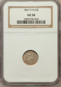 Seated Half Dimes: , 1867-S H10C AU58 NGC. NGC Census: (6/35). PCGS Population (6/30).Mintage: 120,000. Numismedia Wsl. Price for problem free ...