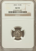 Bust Half Dimes: , 1832 H10C AU55 NGC. NGC Census: (31/742). PCGS Population (84/541).Mintage: 965,000. Numismedia Wsl. Price for problem fre...