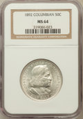 Commemorative Silver: , 1892 50C Columbian MS64 NGC. NGC Census: (1775/1070). PCGSPopulation (1735/947). Mintage: 950,000. Numismedia Wsl. Price f...