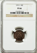 Proof Barber Dimes: , 1913 10C PR66 NGC. NGC Census: (14/12). PCGS Population (13/5).Mintage: 622. Numismedia Wsl. Price for problem free NGC/PC...