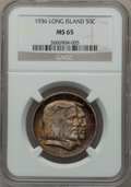 Commemorative Silver: , 1936 50C Long Island MS65 NGC. NGC Census: (1167/391). PCGSPopulation (1211/466). Mintage: 81,826. Numismedia Wsl. Price f...