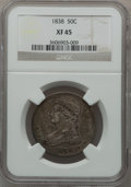 Reeded Edge Half Dollars: , 1838 50C XF45 NGC. NGC Census: (75/751). PCGS Population (161/653).Mintage: 3,546,000. Numismedia Wsl. Price for problem f...