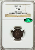 Proof Seated Dimes: , 1867 10C PR65 NGC. CAC. NGC Census: (18/12). PCGS Population (6/2). Mintage: 625. Numismedia Wsl. Price for problem free NG...