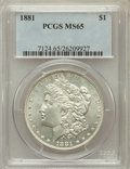 Morgan Dollars: , 1881 $1 MS65 PCGS. PCGS Population (948/87). NGC Census: (629/52).Mintage: 9,163,975. Numismedia Wsl. Price for problem fr...