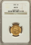 Three Dollar Gold Pieces: , 1854 $3 AU53 NGC. NGC Census: (354/2819). PCGS Population(387/1773). Mintage: 138,618. Numismedia Wsl. Price for problemf...