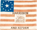 Political:Textile Display (pre-1896), William Henry Harrison: A Superb Silk Log Cabin Flag from the 1840Campaign....