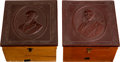 Political:3D & Other Display (pre-1896), Garfield & Arthur: Matched Pair of Collar Boxes....