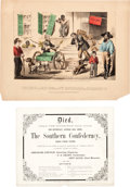 Political:Small Paper (pre-1896), [Abraham Lincoln]: Anti-Confederate Card and Cartoon. ... (Total: 2Items)