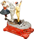 Antiques:Toys, Clown, Harlequin and Columbine Mechanical Bank....