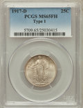 Standing Liberty Quarters: , 1917-D 25C Type One MS65 Full Head PCGS. PCGS Population (271/137).NGC Census: (195/91). Mintage: 1,509,200. Numismedia Ws...