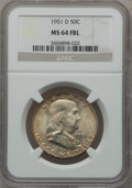 Franklin Half Dollars: , 1951-D 50C MS64 Full Bell Lines NGC. NGC Census: (636/299). PCGSPopulation (1657/799). Numismedia Wsl. Price for problem ...