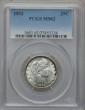 Barber Quarters: , 1892 25C MS62 PCGS. PCGS Population (276/938). NGC Census:(205/880). Mintage: 8,237,245. Numismedia Wsl. Price for problem...