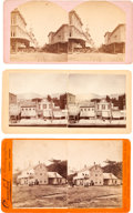 Photography:Stereo Cards, Oregon: Three Albumen Stereoviews Featuring Street Scenes of Portland and Salem and the Ocean House on Yaquina Bay.... (Total: 3 Items)