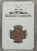 Half Cents: , 1851 1/2 C MS62 Brown NGC. C-1. NGC Census: (121/188). PCGSPopulation (69/121). Mintage: 147,672. Numismedia Wsl. Price f...