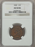 Half Cents, 1828 1/2 C 13 Stars AU50 Brown NGC. NGC Census: (25/645). PCGSPopulation (75/523). Mintage: 606,000. Numismedia Wsl. Price...