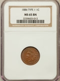 Indian Cents: , 1886 1C Type One MS65 Brown NGC. NGC Census: (37/10). PCGSPopulation (7/0). Mintage: 17,654,290. Numismedia Wsl. Price for...