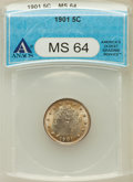 Liberty Nickels: , 1901 5C MS64 ANACS. NGC Census: (266/200). PCGS Population(313/222). Mintage: 26,480,212. Numismedia Wsl. Price for proble...