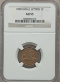 Flying Eagle Cents: , 1858 1C Small Letters AU55 NGC. NGC Census: (0/3). PCGS Population(46/664). Numismedia Wsl. Price for problem free NGC/PC...