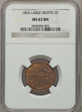 Two Cent Pieces: , 1864 2C Large Motto MS63 Brown NGC. NGC Census: (379/719). PCGSPopulation (328/332). Mintage: 19,847,500. Numismedia Wsl. ...