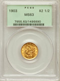 Liberty Quarter Eagles: , 1903 $2 1/2 MS63 PCGS. PCGS Population (1592/2179). NGC Census:(1288/2334). Mintage: 201,000. Numismedia Wsl. Price for pr...