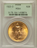 Saint-Gaudens Double Eagles: , 1923-D $20 MS64 PCGS. PCGS Population (2618/3980). NGC Census:(2037/2474). Mintage: 1,702,250. Numismedia Wsl. Price for p...
