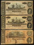 Confederate Notes:Group Lots, Confederate 1864 Group Lot T-69 T-67 (2).. ... (Total: 3 notes)