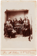 Photography:Cabinet Photos, Nevada: Cabinet Card Photograph of a Group of Men Gathered AroundWhat Appears to be a Quack Medicine Device....