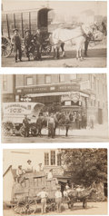 Photography:Official Photos, Real Photo Postcard: Three Horse Drawn Wagons Scenes.... (Total: 3Items)