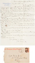 Autographs:Celebrities, [Frank James]. John Newman Edwards Autograph Letter Signed...
