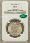 Commemorative Silver: , 1936 50C York MS67 NGC. CAC. NGC Census: (361/25). PCGS Population(530/24). Mintage: 25,015. Numismedia Wsl. Price for pro...