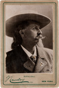 "Photography:Cabinet Photos, William F. ""Buffalo Bill"" Cody, Cabinet Card by Newsboy...."