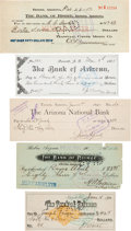 Western Expansion:Cowboy, Arizona Territorial Checks: Group of Five.... (Total: 5 Items)