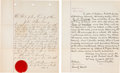 Western Expansion:Cowboy, Two Early West Legal Documents.... (Total: 2 Items)
