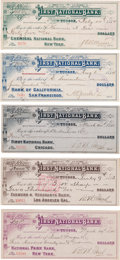 Miscellaneous:Ephemera, Tucson, Arizona: Five Colorful Large 1883-84 Bank Checks, ThreeSigned by Barron M. Jacobs. ... (Total: 5 )
