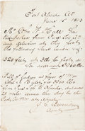 Western Expansion:Cowboy, Fort Apache, Arizona Territory Handwritten Bill-of-Lading forLumber, June 15, 1893....