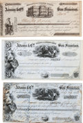 Western Expansion:Goldrush, Three Large Adams & Company Express and Banking House Checks,Circa 1850s.... (Total: 3 Items)